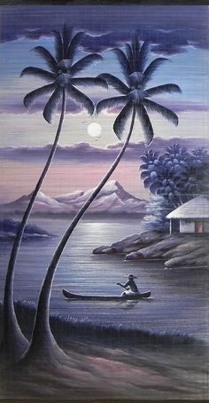 Boatman Rowing on a Moonlit Night - (Wall Hanging) (Painting on Woven Bamboo Strands) Drawing Scenery, Scenery Paintings, Indian Art Paintings, Nature Paintings, Beautiful Paintings, Beautiful Landscapes, Watercolor Landscape, Landscape Art, Landscape Paintings