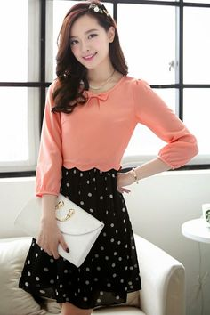 Dotted A-line Chiffon Dress - tooooooo cuuute! Classy Outfits, Pretty Outfits, Beautiful Outfits, Cute Outfits, Cute Dresses, Casual Dresses, Short Dresses, Fashion Dresses, Korea Fashion