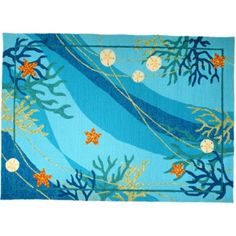 <p> Underwater Coral & Starfish Rug is a exciting colorful rug. With a refreshing look for your coastal living space.</p> <p> This seaside inspired rug is made from a durable polypropylene which makes it a top quality outdoor hooked coastal rug.  Lively under water theme.</p>