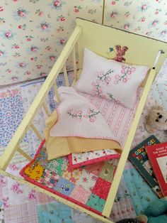 Stunning Vintage Dolls Crib Cot With Handmade Bedding