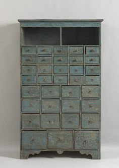 Robert Young Antiques - Collection. Remarkable Georgian Nest Of Thirty Five Seed Drawers #FolkArt