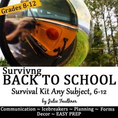 Back to School Survival Kit Planning, Forms, Icebreakers, routines, ideas, management