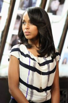 Kerry Washington as Olivia Pope on Scandal. Love the hair.