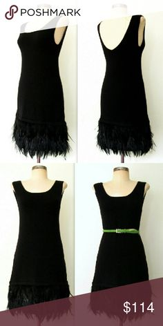 NANETTE LEPORE *Sold Out* Lbd Black Feather Mini Gorgeous NANETTE LEPORE Little Black Feather Dress. Flapper style, knit soft wool blend, and black feather trimmed hem. Gorgeous!  Sold out on Shopbop! Nanette Lepore Dresses Mini