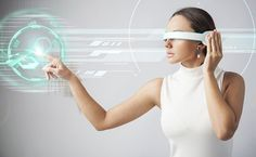 Photo about Young woman with futuristic smart glasses over gray background. Image of machine, reality, high - 74603415 Virtual Reality Education, Augmented Virtual Reality, Augmented Reality Technology, New Technology Gadgets, Technology World, Futuristic Technology, Business Technology, Technology Design, Computer Technology