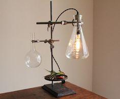 The kitchen lab Steampunk House, Steampunk Lamp, Steampunk Gadgets, Vintage Lighting, Cool Lighting, Desk Lamp, Table Lamp, Estilo Interior, Pipe Lamp
