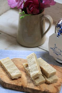 4 ingredient (almond meal, coconut oil, honey, and vanilla extract) raw shortbread biccies.