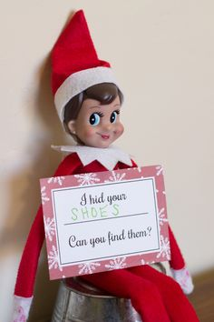 Free Printable Elf on the Shelf Hide and Seek Cards | Over The Big Moon