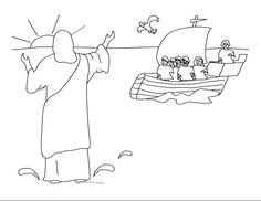 Kleurplaten - Categorie: Apostelen. Jezus loopt over het water.  download kleurplaten van www.gelovenisleuk.nl