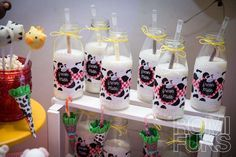 Milk bottles at a farm party! See more party planning ideas at CatchMyParty.com!