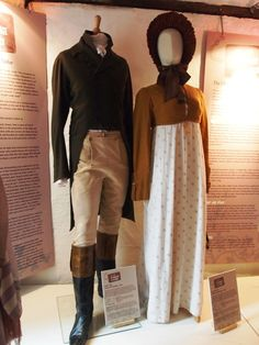 Costumes worn by Colin Firth and Jennifer Ehle as Mr. Darcy & Elizabeth Bennet in Pride and Prejudice (1995).