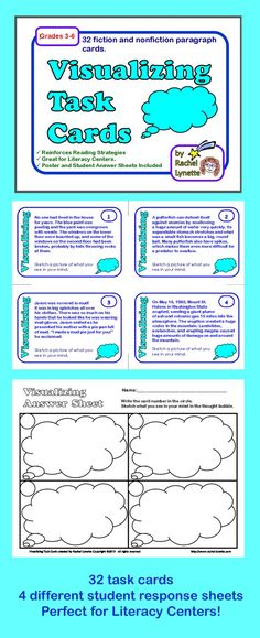Your students will love these 32 visualizing task cards! Each card features a different paragraph to sketch. All of the paragraphs on the odd numbered cards are fictional, while those on the even numbered cards are nonfiction (informational text). That way you can split the cards into two decks if you want to focus on one type of text. $
