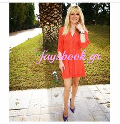 Happy lady, Fay, in red! Happy Women, Happy Lady, Cold Shoulder Dress, Celebrities, Red, How To Wear, Dresses, Collection, Style