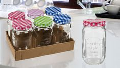 Buy Set of 6 Mason Jam Jars - 450ml UK deal for just: £6.99 Store your homemade delicacies in this Set of 6 Jam Jars      Includes an assortment of colourful lids      Lids have a retro hankerchief pattern      Embossed design says 'country style'      Mason jam jar capacity: 450ml      Ideal for preserving pickle, chutney, jam and more.      Kit out your kitchenware with this Set of 6 Jam Jars, just 6.99 pounds BUY NOW for just GBP6.99