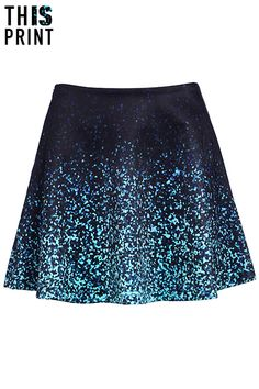 ROMWE | This Is Print The Gradient Sequins Print Skirt, The Latest Street Fashion
