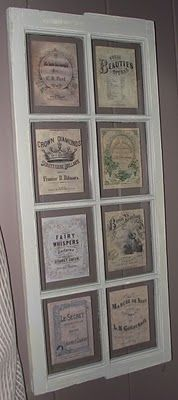Serendipity Chic Design: Another vintage window~soap and perfume labels Shabby Chic Flowers, Shabby Chic Crafts, Shabby Chic Homes, Shabby Cottage, Old Window Frames, Window Art, Window Panes, Window Ideas, Shabby Chic Coffee Table