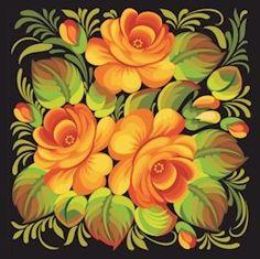 Russian Floral Folk Art Needlepoint Canvas Orange Roses