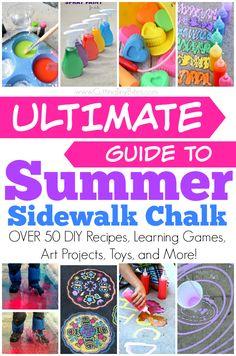 Ultimate Guide to Summer Sidewalk Chalk. Tons of Activities for Kids -- DIY… Summer Fun For Kids, Diy For Kids, Crafts For Kids, Summer Art, Toddler Crafts, Infant Activities, Preschool Activities, Outdoor Activities, Children Activities