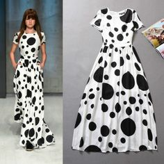 Recommended! Summer 2014 Holiday Dots Printed Long Dress 140505LI01 $69.90