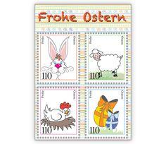 lustige Osterkarte mit bunten Briefmarken Motiv - http://www.1agrusskarten.de/shop/lustige-osterkarte-mit-bunten-briefmarken-motiv/    00021_0_1437, bunt, Comic, Grußkarte, Illustration, Klappkarte, lustig, Osterfest, Osterhase, Osterkarte, Osterkarten00021_0_1437, bunt, Comic, Grußkarte, Illustration, Klappkarte, lustig, Osterfest, Osterhase, Osterkarte, Osterkarten