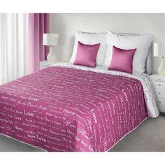 Ružové obojstranné prešívané prehozy na posteľ s nápismi