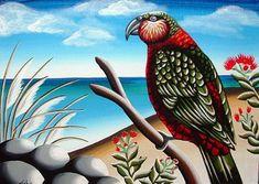 NZ Birds & Landscape - TashArt New Zealand Art, Nz Art, Kiwiana, Bird Art, Art Images, Art For Kids, Coastal, Birds, Landscape