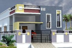 Single Floor House Design, House Front Design, Modern Bungalow House, Bungalow Exterior, Building Elevation, House Elevation, Compound Wall Design, Front Elevation Designs, Independent House