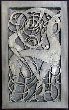 Fenrir, the nordic wolf, carving from Norway, viking age. the other animal… Viking Art, Viking Symbols, Viking Runes, Viking Designs, Celtic Designs, Driftwood Sculpture, Sculpture Art, Vikings, Viking House