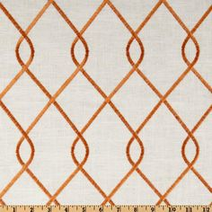 Suburban Home Embroidered Rico Papaya - ivory fabric with orange diamond lattice design - $20.98/yd