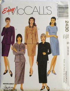 1990s Misses Sewing Pattern McCalls 2430 Misses Jacket & Dress Pattern in Two Lengths Size 20, 22, 24 Uncut by SewYesterdayPatterns on Etsy