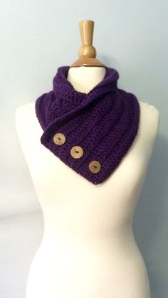 Cowl Scarf with Buttons 3 Button Wrap by BrittanysChikBoutik