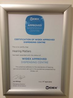 We are now an approved Widex hearing aid dispensing centre. http://www.HearingCentral.com