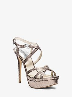 Cicely Metallic Embossed-Leather Platform Sandal by Michael Kors