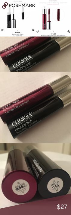 Set of 2 Clinique Chubby Lash Mascara Clinique's lightweight, Chubby Lash Fattening Mascara coats lashes from root to tip for immense volume, and it doesn't clump, flake, or smudge. Featuring an oversized volumizing brush, it transforms lashes from fine and faint to gorgeous and bold. Pigment-enhancing ingredients create rich, intense colors so that it's easily buildable to achieve the look you want. You're getting 2 mascaras for one price.  Full size, brand new never opened. Value $35…