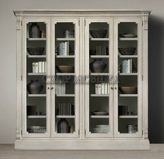 James Glass Double Cabinet from Restoration Hardware--pretty doors and trim. I wonder if it's possible to fake? Book Cabinet, Cabinet Shelving, China Cabinet, Furniture For You, Dining Room Furniture, Furniture Design, Accent Furniture, Furniture Ideas, Interior Design Inspiration