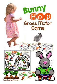 Bunny Hop! Spring and Easter Gross Motor Game. Improves Gross Motor Skills, Endurance, Motor Planning Skills, Following Directions, Number Skills, Memory, and Turn Taking.