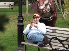 Funny GIF: Dinosaur Prank