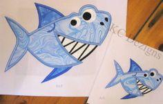 KC Designs Smiley Shark August Silver Thread Design Downloads - The Applique Circle