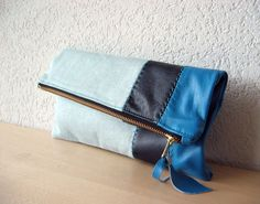Leather Clutch in Italian Leather and Powder Blue by iragrant, CHF42.00