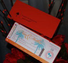 Invitacion de boleto de avion : Esta invitacion esta muy de moda para bodas en playa, es un boleto de avion con los datos de los novios y de la boda. Puede ser personalizada con los datos que tu quieras.  Cotizaciones a anaderoux@gmail.com http://www.anaderoux.com  Visitame en facebook! http://www.facebook.com/pages/manage/#/pages/McAllen-TX-Reynosa-Mexico/Ana-de-Roux-Invitations-Stationery-Design/59630348311 | anaderoux