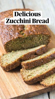 Zucchini Bread Recipes, Banana Bread Recipes, Healthy Zucchini Bread, Zucchini Desserts, Bake Zucchini, Quick Bread Recipes, Easy Bread, Bagels, Croissants