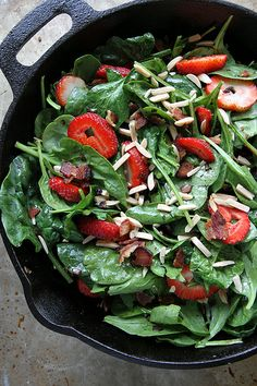 Hot Spinach and Strawberry Salad with Bacon by Heather Christo, via Flickr- minus sugar