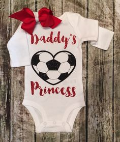 Baby Girl Daddys Princess Onesie Soccerball by BellaPiccoli Soccer Outfits, Girl Outfits, Soccer Baby Showers, Daddys Princess, Gerber Baby, Girls Soccer, Baby Girl Fashion, Shirts For Girls, Onesies