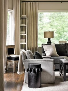 Linen Draperies. Natural Linen Draperies in Living Room.  Interior Design by Beth Webb Interiors.