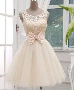 A line Princess Short Beige Lace Tulle Pretty Prom Dress/Formal Dress/Short…