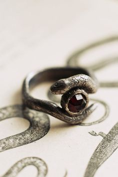 Snake gothic ring, custom nu goth jewellery, handmade occult jewelry.