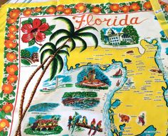 Sale, Outstanding vintage retro Florida scarf, map of Florida, bright oranges, parrots, Hibuscus, palm trees and sea shells, authentic! by TwoSwansSwimming on Etsy