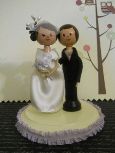 Customize Clothespin dolls Wedding Cake Topper of couple to be personalized for your special day