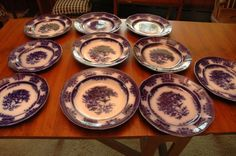 "Miscellaneous antique 10 piece flow blue AHOY Davenport plate lot. 8 plates (6 measure 10.5""). Two 10.5"" soup bowls. Wear consistent with age. All stamped AHOY with appropriate Davenport mark. Pieces in lot could have small chips, scratches, spider cracks etc."