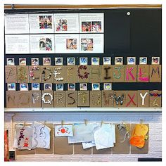Documentation (Reggio) alphabet from nature Portfolio Kindergarten, Full Day Kindergarten, Kindergarten Literacy, Literacy Activities, Alphabet Activities, Reggio Classroom, Classroom Displays, Kindergarten Classroom, Classroom Organization